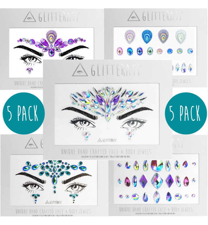 Mixed 5 Pack of Face & Body Jewels Gems Set - Complete Adhesive Gem Set