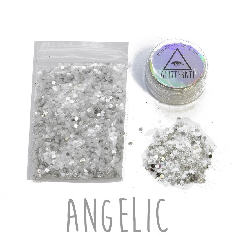Angelic - 10g Pot - Chunky Mixed Festival Glitter For Face / Body or Hair