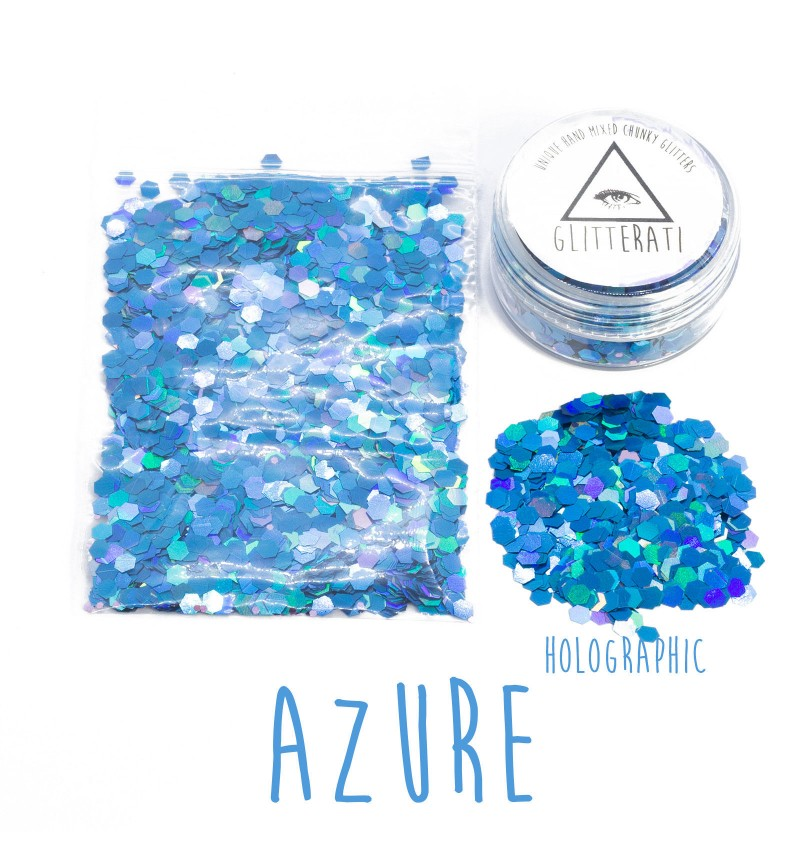 Azure - 10g Pot - Chunky Mixed Festival Glitter For Face / Body or Hair