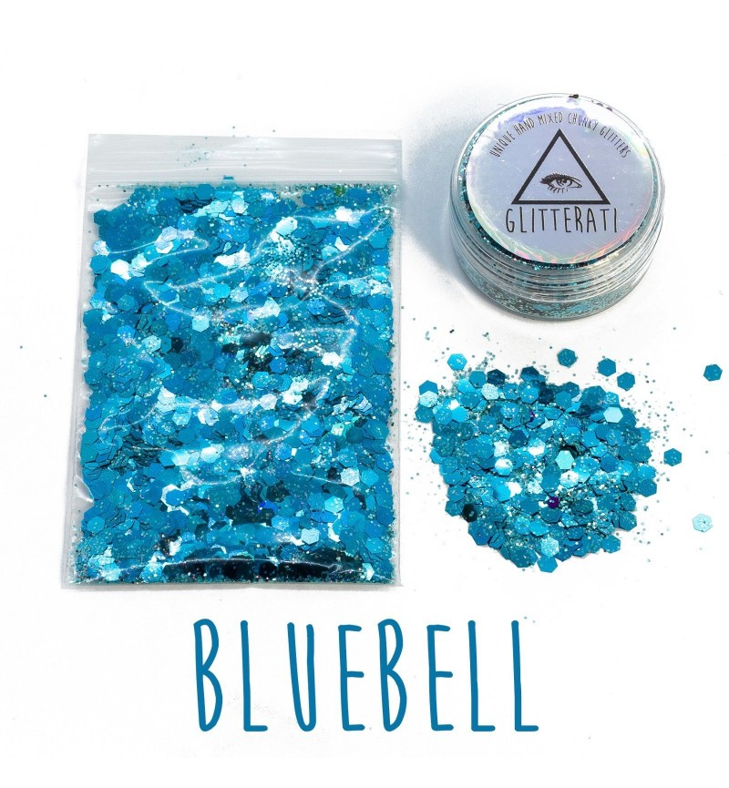 Bluebell - 10g Pot - Chunky Mixed Festival Glitter For Face / Body or Hair