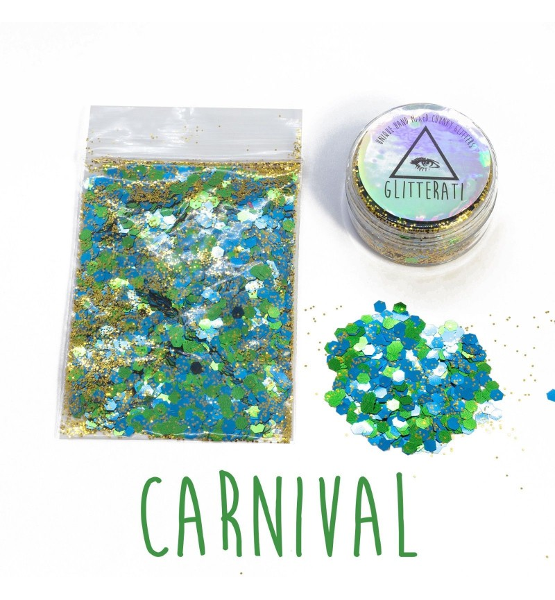 Carnival - 10g Pot - Chunky Mixed Festival Glitter For Face / Body or Hair