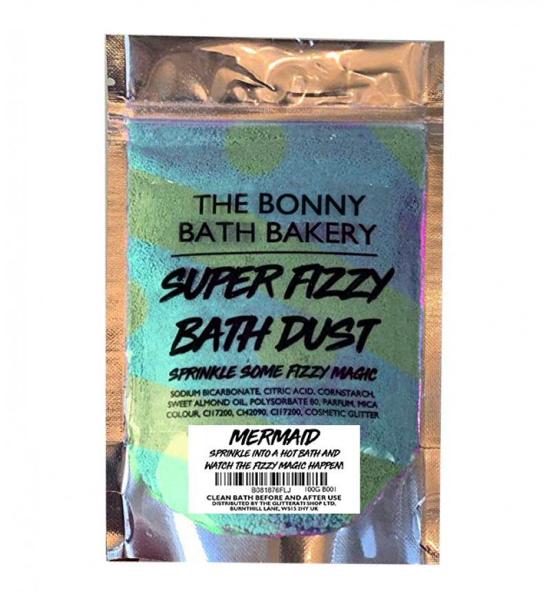 The Bonny Bath Bakery Super Fizzy Bath Dust - Foaming Bath Bomb Dust Vegan Friendly - Colourful Scented Resealable Pouch (Mermaid)