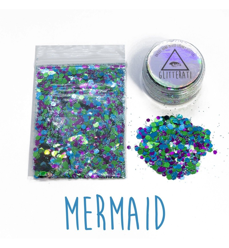 Mermaid - 10g Pot - Chunky Mixed Festival Glitter For Face / Body or Hair