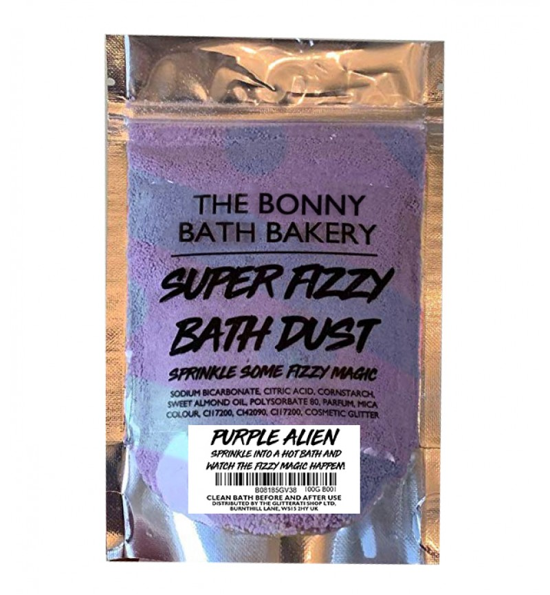 The Bonny Bath Bakery Super Fizzy Bath Dust - Foaming Bath Bomb Dust Vegan Friendly - Colourful Scented Resealable Pouch (Purple Alien)