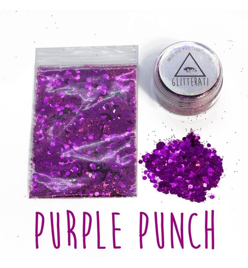 Purple Punch - 10g Pot - Chunky Mixed Festival Glitter For Face / Body or Hair