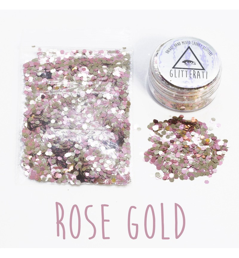 Rose Gold - 10g Pot - Chunky Mixed Festival Glitter For Face / Body or Hair
