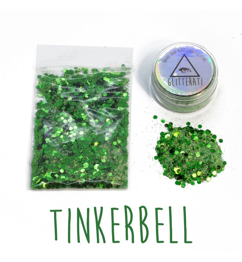 Tinkerbell - 10g Pot - Chunky Mixed Festival Glitter For Face / Body or Hair