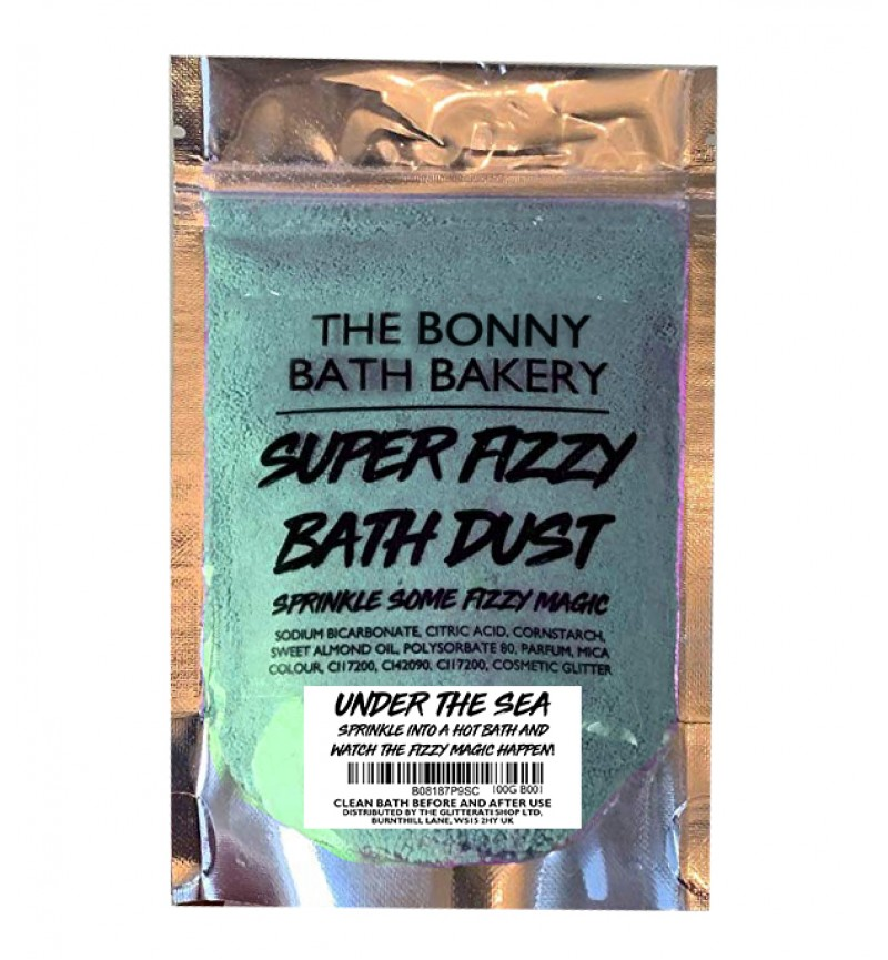 The Bonny Bath Bakery Super Fizzy Bath Dust - Foaming Bath Bomb Dust Vegan Friendly - Colourful Scented Resealable Pouch (Under The Sea)