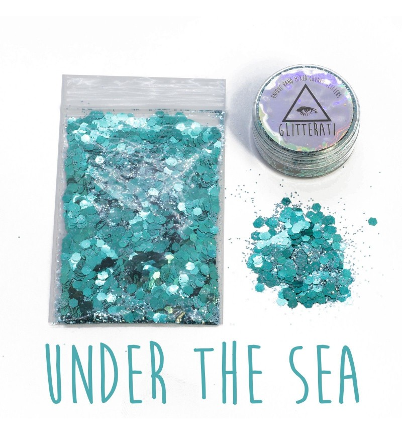 Under The Sea - 10g Pot - Chunky Mixed Festival Glitter For Face / Body or Hair