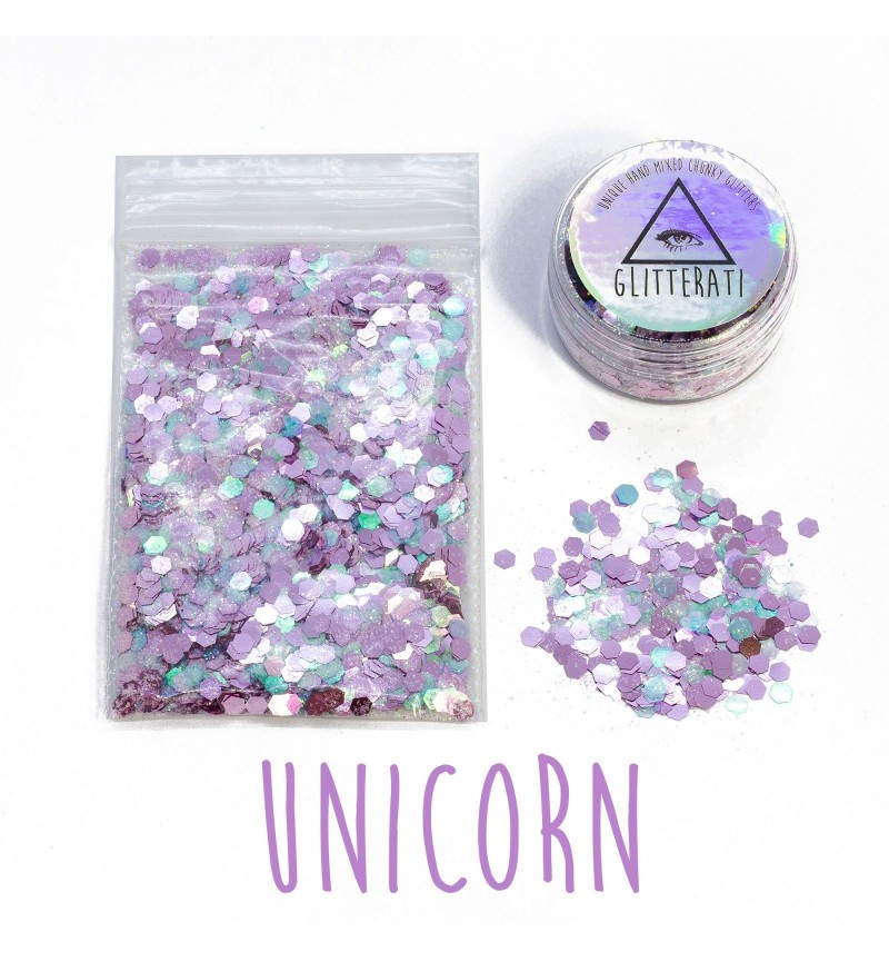 Unicorn - 10g Pot - Chunky Mixed Festival Glitter For Face / Body or Hair